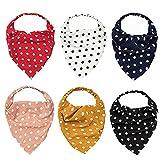 XCSM Paquete de 6 pañuelos elásticos Triangulares para el Cabello, Diadema con Estampado de Lunares Vintage, Turbante, pañuelo para la Cabeza, pañuelos para el Cabello, para Mujeres y niñas