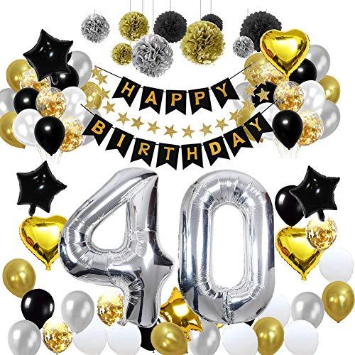 HULASO 40.Geburtstag Deko Schwarz Gold Geburtstag Dekorationen Luftballons Party Deko Geburtstag für Männer Frauen Geburtstag Deko Gold Silber Tissue Papier Pom Poms Happy Birthday Banner