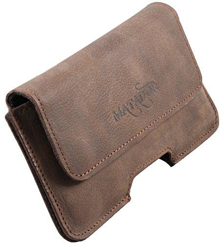 MATADOR Gürteltasche Echt Leder kompatibel mit Samsung S9 Plus / S10 Plus / S20 Plus Handy Leder Hülle Tasche Case Gürtelschlaufe Tabacco Braun Magnetverschluss
