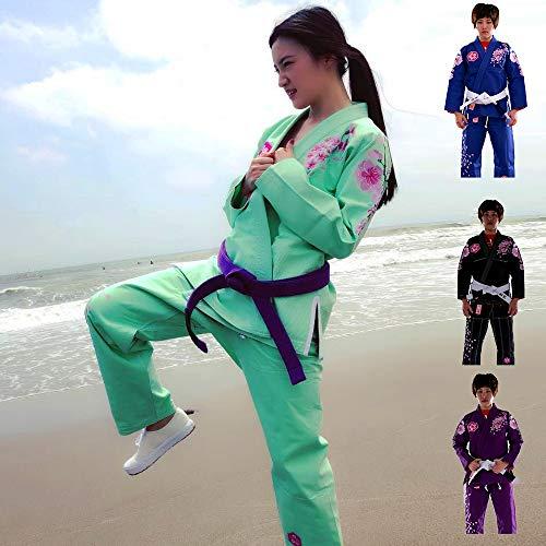 Sunrise Damen Brasilianischer Jiu Jitsu Anzug weiblich BJJ Gi Kimonos Frauen BJJ Uniform, BJJ13 Green, F1