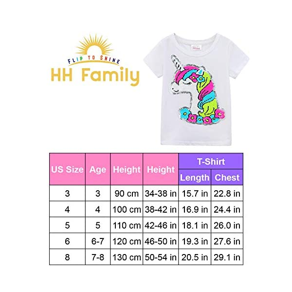 HH Family Girl's Unicorn Casual T-Shirt Birthday Top Tee 7
