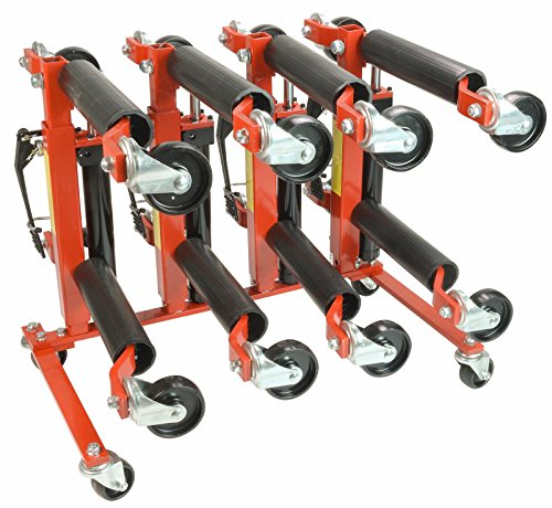 Dragway Tools (4) 12in. 1500 lb Hydraulic Car Wheel Dolly with Storage Stand