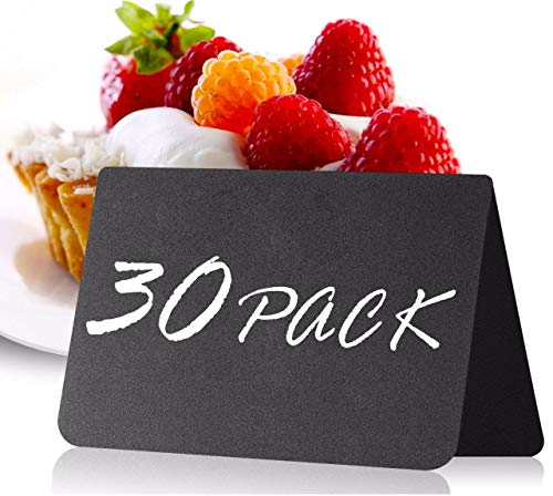 30 Pack Mini Chalkboard Table Tent Signs 10x7 cm for Food - Buffet - Party - Wedding - Chalkboard Labels for Food - Chalk Food Stand Labels - Chalkboard Tag - Chalkboard Buffet Tags for Food Table