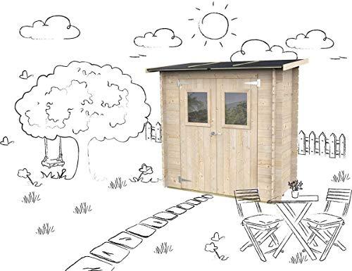 Casetta in legno Addossato Jack Per Attrezzi Giardino con porta doppia finestrata 198 x 98 cm
