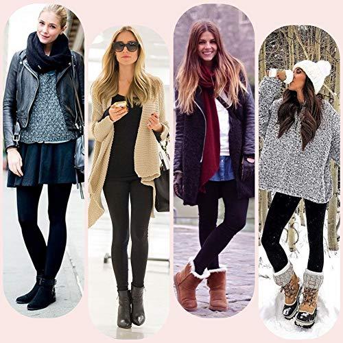 Tencoz Leggings Invierno Mujer, Pack de 2 Pantalones Leggins Cintura Alta con Forro Polar Grueso, Medias Leggings Térmicos Calientes Elásticos de Invierno (Black)
