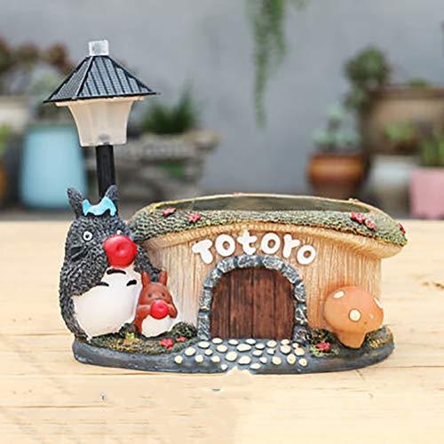 HUANXI Maceta con luz Nocturna Creativa Totoro para decoracin navidea, lmpara de Escritorio de Mesa Studio Ghibli, Regalo para nios, lmpara para Dormir,C2