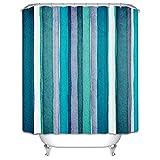 LAundNA Blue Stripes Dekor verdicken Polyester Stoff Bad Duschvorhang Set mit Haken , 200*180cm