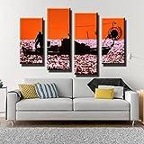 KOPASD Cuadro sobre Lienzo-4 Piezas- Puesta de Sol del Pescador -Cuadros Modernos Impresión de Imagen Artística Digitalizada|Lienzo Decorativo para Tu Salón o Dormitorio