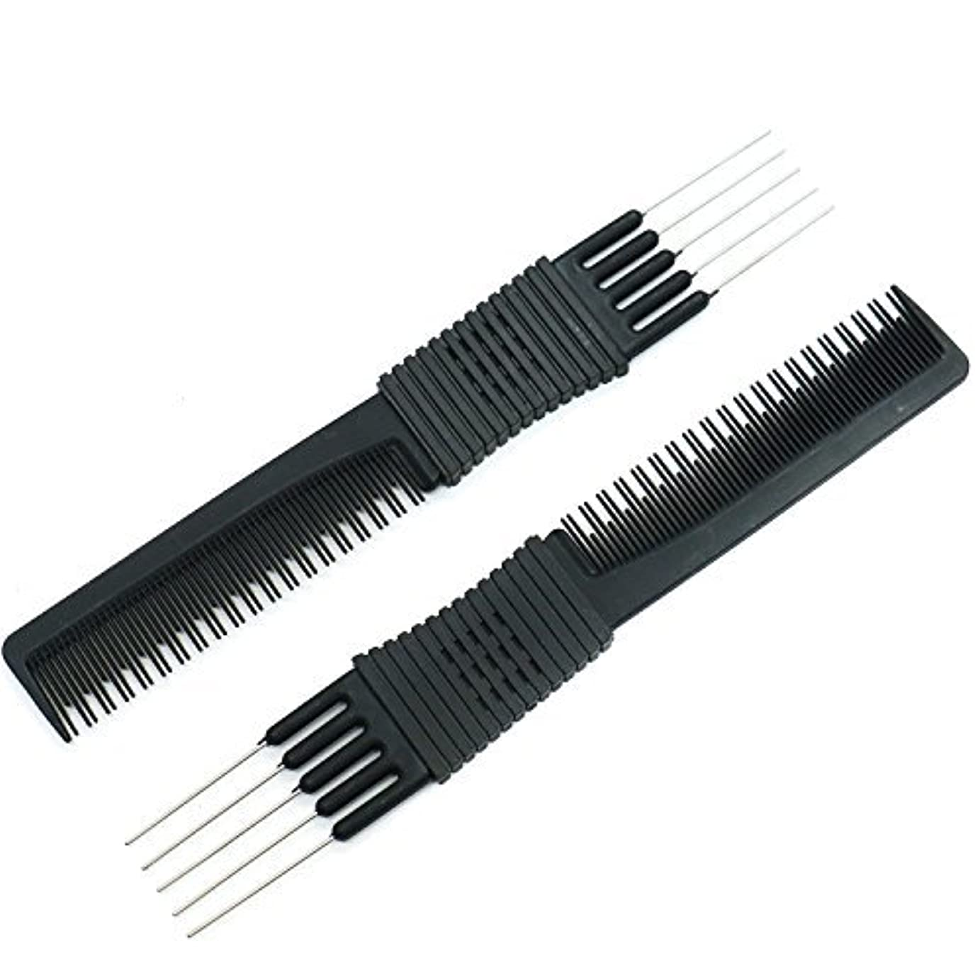 グレートバリアリーフおばさん欲望HUELE 2pcs Lift Teasing Combs with Metal Prong Pro Salon Teasing Lifting Fluffing Comb with 5 Stainless Steel Pins (Black) [並行輸入品]