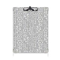 クリップボード A4 グレーと白 学用品A4 バインダー 花の優雅な花びらの枝の葉が色あせた抽象的なブルーム芸術的なパターン A4 タテ型 クリップファイル ワードパッド ファイルバインダー 携帯便利灰色