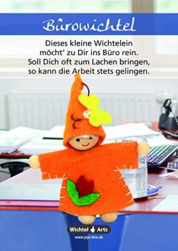 Wichtel Arts Bürowichtel Glücksbringer, Holz, Orange mit roter Blume, 15 x 10.5 x 2.7 cm