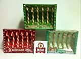 MEAT MANIAC Christmas Novelty Candy Canes Sampler Gift Pack with Sticker- Bacon Candy Canes, Gravy Candy Canes, Coffee Candy Canes