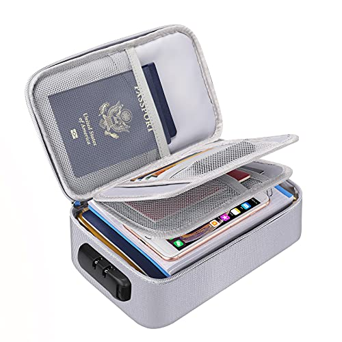 """Small Fireproof Storage Organizer Case with Lock(9.4""""x 5.9""""x 3.2""""), ENGPOW 3-Layer Money Safe Coin Organizer Wallet Bag for Cash,Card,Passport,Check,Bill,Travel Home Organizer Carrying Case,Silver"""