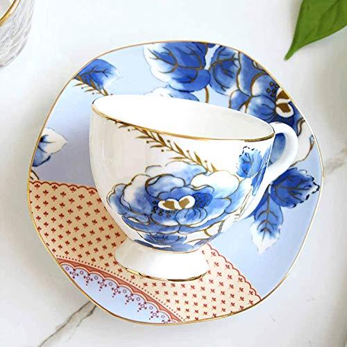 Knochen China Teetasse Kaffeetasse Untertasse Kleine Blumen Blau Und Rosa Home Hochzeitsgeschenk Ostergeschenk-2