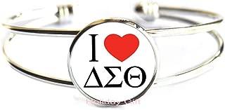 Jewelry Greek Greece Sorority Fraternity Organization Delta Sigma Theta Symbol Series Glass Cabochon Bangle.HTY-171