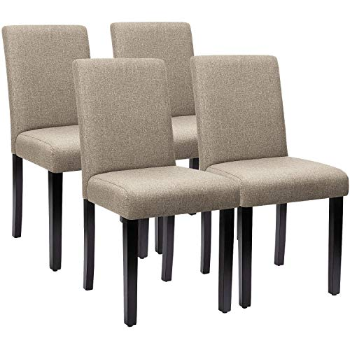 Furniwell Dining Chairs Fabric Upholstered Parson Urban Style Kitchen Side Padded Chair with Solid Wood Legs Set of 4 (Beige)