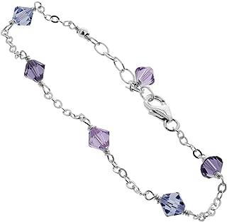 925 Sterling Silver Bicone Swarovski Elements Blue & Violet Crystal Anklet Ankle Adjustable Bracelets for Women