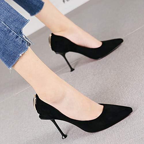 HRCxue zapatos de la Corte zapatos de tacón de Aguja de Metal para mujer de Temperamento y Tacones de Aguja, 38, negro
