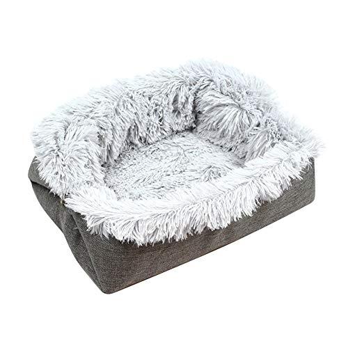Cama de felpa para la mayoría gatos y perros pequeños, 63,5 x 58,2 cm, suave y cálida, para invierno, con forro suave a juego, resistente a la suciedad