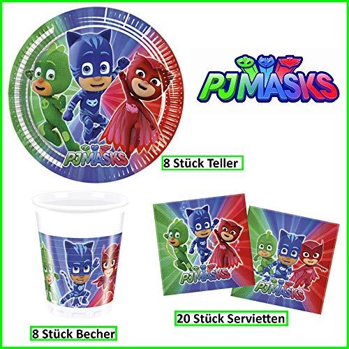 PJ Masks – Pyjamahelden Geschirr-Set 36-teilig Servietten Pappteller Plastikbecher Kindergeburtstag Partygeschirr 8 Kinder