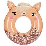 com-four® Anello da Bagno - Grande Anello Galleggiante colorato per Il Divertimento del Bagno - Cerchio Galleggiante per Bambini per Il Bagno con Motivo di Animali (01 Pezzo - Lama/Rosa)