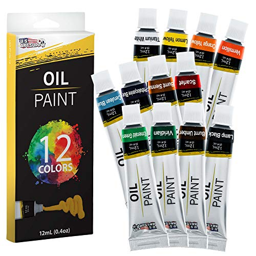 U.S. Art Supply Professional 12 Color Set of Art Oil Paint in 12ml Tubes - Rich Vivid Colors for Artists, Students, Beginners - Canvas Portrait Paintings