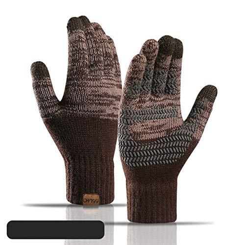 Guantes de Invierno de Punto para Hombre y Mujer, Guantes Gruesos cálidos de Otoño Invierno para Mujer, Guantes de esquí con Pantalla táctil-Coffee-One Size