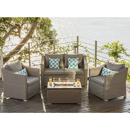 COSIEST 4-Piece Warm Gray Wicker Fire Pit Outdoor Furniture Sectional Sofa, Conversation Set w 32-inch Rectangle Propane Fire Table 40,000 BTU, Fits 20gal Tank Outside Wind Guard for Garden, Backyard