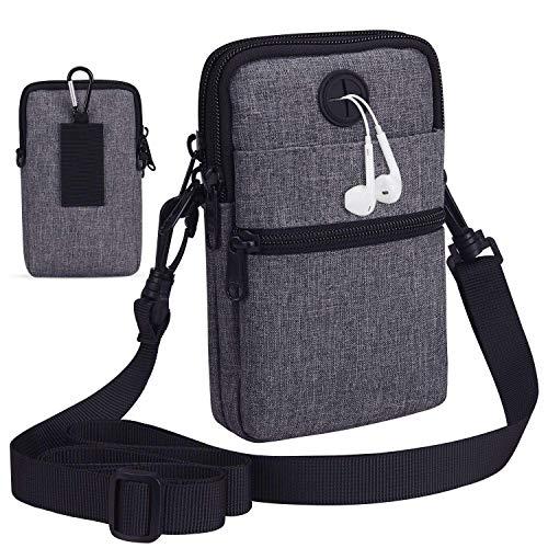LIVACASA Handtasche Herren Umhängetasche Klein Herrentasche Jungen mit Vielen Fächern Schultertasche Verschleißfest Herrentasche Gürteltasche Outdoor Hüfttasche Handytasche Grau