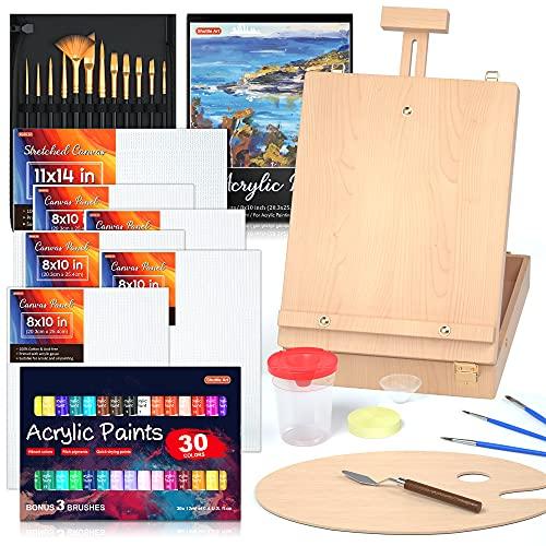 Juego de pintura acrílica, paquete de 59 suministros de pintura profesional Shuttle Art con caballete de mesa de madera, pintura acrílica de 30 colores, lienzo, pinceles, paleta