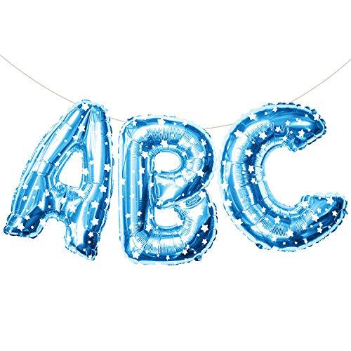 Oblique Unique® ABC Buchstaben Folien Luftballon Girlande Banner Hänge Deko für Einschulung Schuleinführung Schulanfang Schulstart Dekoration Schule Ballons Blau mit Stern