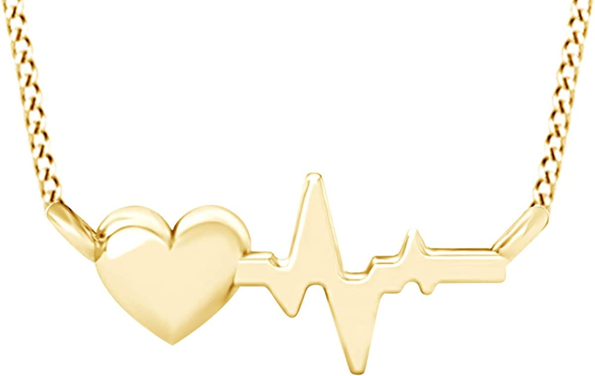 AFFY Heartbeat Love security Pendant Necklace Sterling Gold Silv 14k Over Superlatite