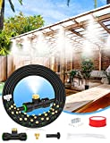 Lekit Misters for Outside Patio 89FT(27.3M)+34 Brass Mist Nozzles+a Brass Adapter(3/4') Detachable Outdoor misting Cooling System for Garden, Waterpark, Greenhouse, Backyard
