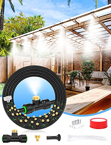 """Lekit Misters for Outside Patio 89FT(27.3M)+34 Brass Mist Nozzles+a Brass Adapter(3/4"""") Detachable Outdoor misting Cooling System for Garden, Waterpark, Greenhouse, Backyard"""