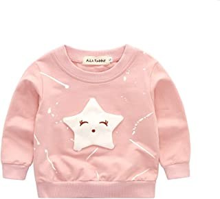 WTYD Family Goods Baby Girls Clothing Cartoon Pentagram Pattern Long Sleeve T Shirt Casual Tops, Size:XL(Pink) (Color : Pink)