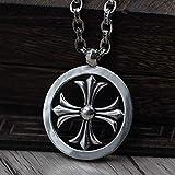 ZLININ Y-Longhair S925 Sterling Silber Weinlese-Halskette Männer Frauen einzigartige Runde Kreuz...