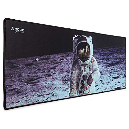 Apollo Gaming Extended Mouse Pad, Large NASA Astronaut Space Design Microfiber Mousepad, (31.5×11.8), Large XXL Extended Desk Mat. Long Computer Keyboard Mouse Mat Mousepad for Office/Gaming/Home