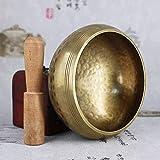 Cuenco Tibetano 7 Metales Hecho A Mano, del Himalaya Silent Mind, Canto Cuenco con Mazo, para Yoga, Meditación, Relajación, Masajes, Curación,80mm