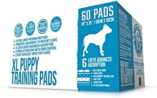 Bulldogology Puppy Pee Pads XL with Adhesive Sticky Tape - Extra Large Dog Training Wee Pads (24x35) 6 Layers with Extra Quick Dry Bullsorbent Polymer Tech