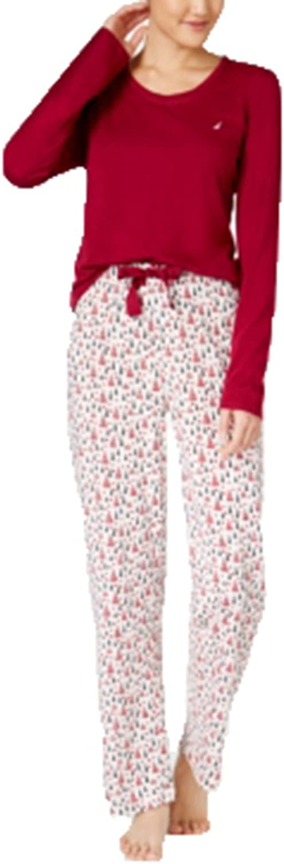Nautica Womens Scoop Neck 2PC Pajama Set Red XXL