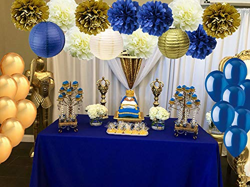 Royal Blue Gold Cream Party Decorations-Tissue Paper Pom Poms Paper Lanterns with Balloons Set for Navy Blue Nautical Party Royal Prince Baby Shower Birthday Wedding Graduation Party