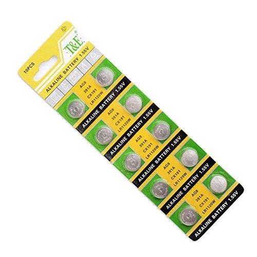 10 Pieces Pack LR1120 191 V381 V391 AG8, 391A, 391B, 533, 553, 609, AG8, CX191, D381, D391,G58, G8, GP381, GP391, GS8, Button Coin Cells Alkaline Battery 1.55V