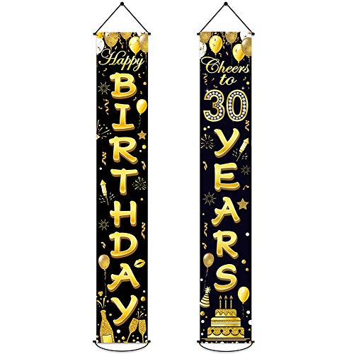 30th Birthday Party Banner Decorations Cheers to 30 Years Banner Black Gold Welcome Porch Sign Oxford Cloth Banner Decorations for Unisex Indoor Outdoor Birthday Party Anniversary Celebration