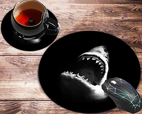 Round Mouse Pad and Coasters Set, Fiercely Shark Customized Design Mousepad, Non-Slip Rubber Round Mouse Pad, Customized Mouse Mat for Working and Gaming