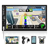 """UNITOPSCI Double Din Car Stereo with Bluetooth 7"""" Touch Screen Car Radio with Backup Camera Mirror Link for Android Car Multimedia Player FM Car MP5 Player Dual USB AUX TF Card Input SWC+ Microphone"""
