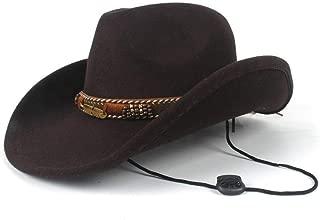 AU-KANGSHUAI 2019 Winter Outdoor Casual Wild Hat Men Women Wool Western Cowboy Hat With Belt Adult Church Hat Size 56-58CM