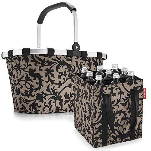 reisenthel Set Carrybag Plus farblich passender bottlebag Einkaufskorb Einkaufstasche (Baroque Taupe)