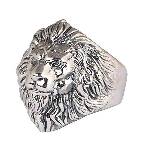 Springisso Lion Head Anillo Anillo para Hombre S925 Silver Retro Craft Anillo De Plata Apertura Joyería Ajustable Regalo De Cumpleaños De Navidad
