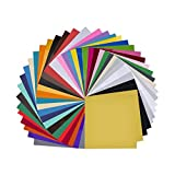 Vinyl Sheets 40 Pack 12 x 12 Premium Permanent Self Adhesive Vinyl Sheets for Craft Cutters,Printers,Letters,Decals (35 Color)