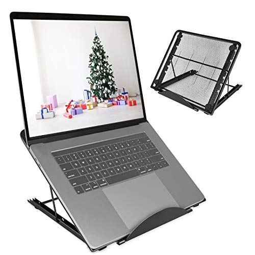 Foldable Laptop Stand for Desk, Portable Notebook Laptop Holder, Laptop Riser with 6 Levels Height Adjustment, Heat Dissipation Cooling Stand Supports up to 44lbs, Easy to Carry(Black) heise zhijia
